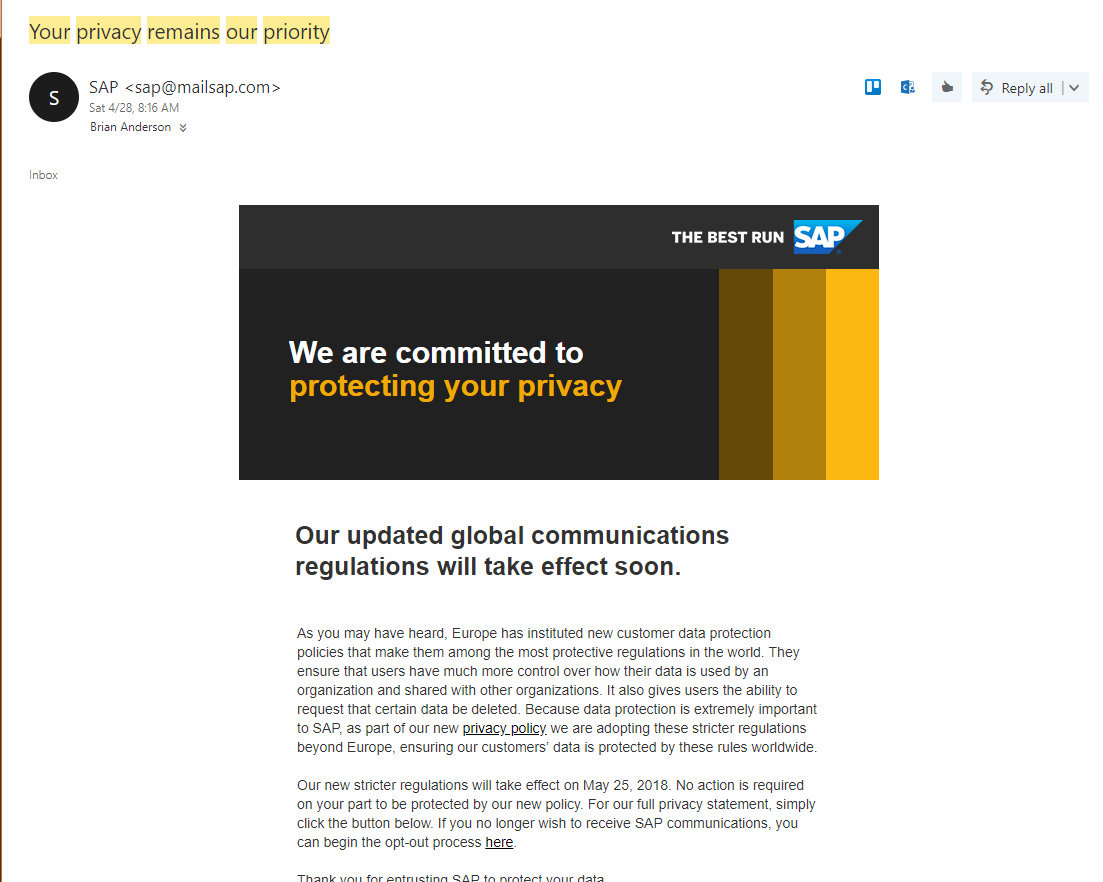 SAP email