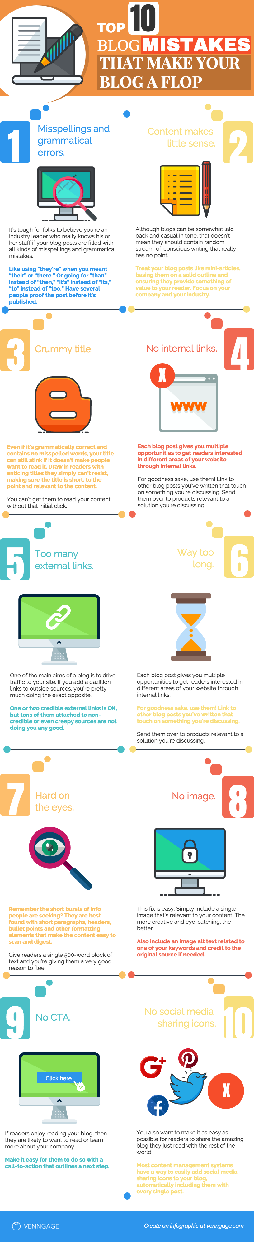 Top 10 blog mistakes that make your blog a flop Venngage Infographic
