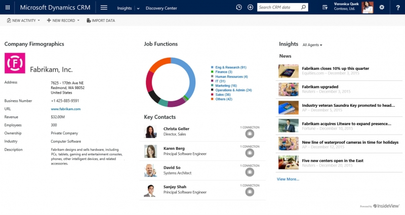 InsideView Launches Integration With Microsoft Dynamics 365, Adds New Features